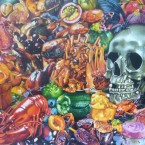 Bavardages gastronomiques acrylique sur toile 200 cm x 200 cm 2011