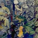 Democrazy 3 collage fusainaquarelle sur papier 140 X 240 cm 1999