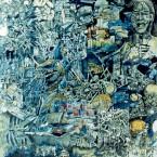 Desintegratif, collage, stylo à bille, aquarelle sur papier,140 cmx140cm,1999