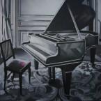 Fausse note100 cm x 100 cm acrylique sur toile 2008