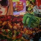 Bavardages gastronomiques acrylique sur toile 200cm x 200cm 2010