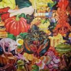 Des images à la bouche acrylique sur toile 200 cm x 200 cm 2010