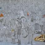 """série """"Bruissement de signes"""" 200cm x150cm ,dessin sur papier,2015"""