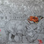 """Kodama""150 cm x 110 cm dessin sur papier 2015"