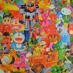 Série Images dévorantes, acrylique sur toile, 150cm x 150cm, 2017.