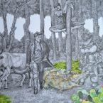 Signscape, feutre et aquarelle sur papier, 65cm x 50cm, 2017.